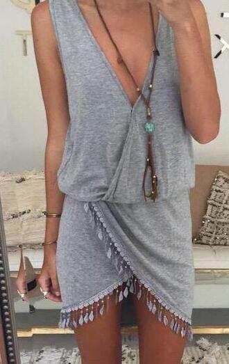 dress dream closet couture gray grey grey dress fringe fringes fringed dress