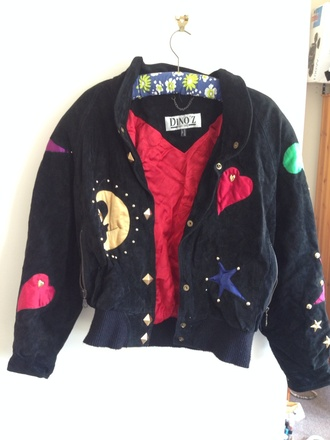 jacket 90s grunge 90s style 80s style bomber jacket multicolor blogger soft grunge stars moon and sun retro baggy