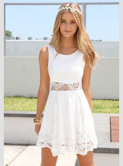 dress white dress straps lace cut out knee length flower aztec pattern