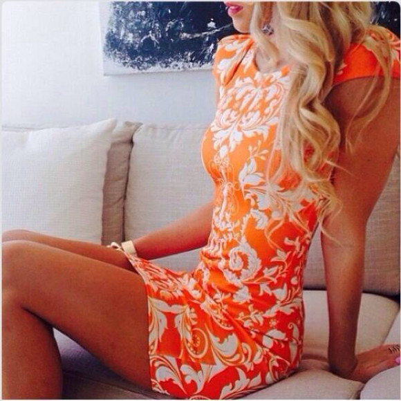 orange dress white orange cap sleeve dress damask damaskdress short sleeved dress cap sleeved