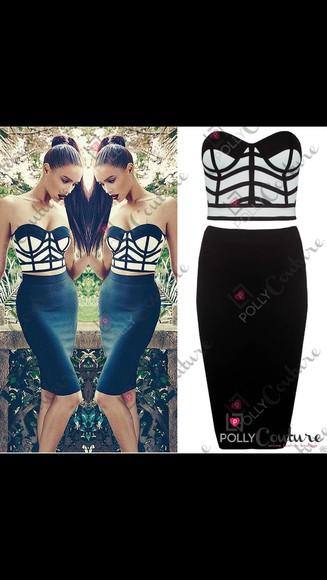black midi skirt white two-piece top bralet top strapless top