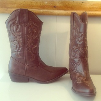 shoes cowgirl boots brown embroidered cute