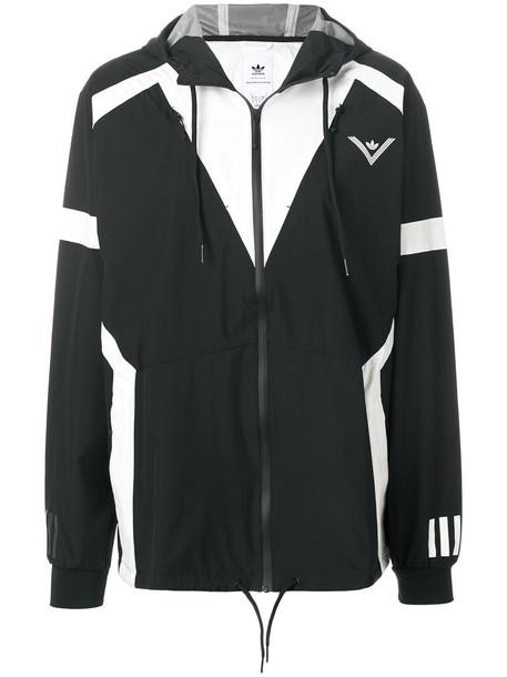 Adidas jacket windbreaker women white black