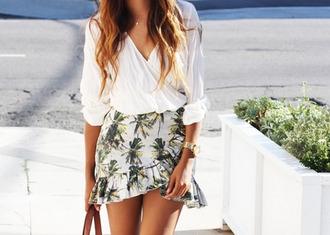 skirt ruffle skirt palm tree skirt short skirt palm tree print blogger skirt mini skirt