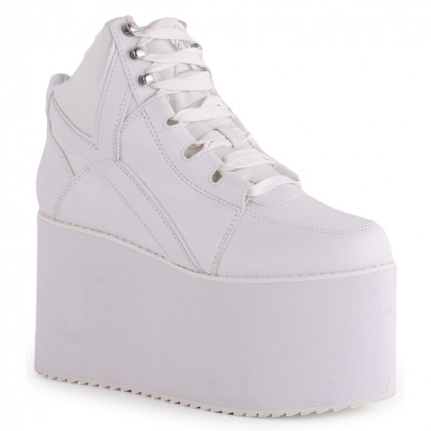 YRU Qozmo Hi Womens Platform Trainers in White