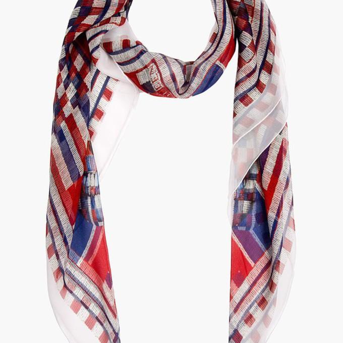 red scarf print blue women chiffon beaded skull scarf red