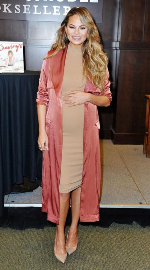 Clothing : Jackets : 'Madelie' Copper Satin Duster Coat