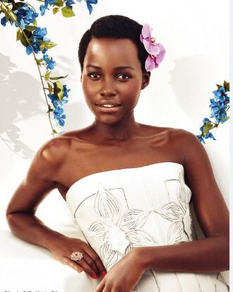 dress white white dress lupita nyong'o strapless editorial spring flowers floral