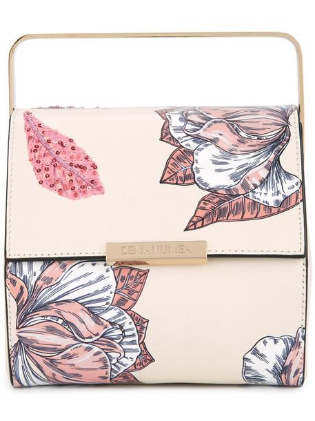 mini women bag mini bag floral leather nude print