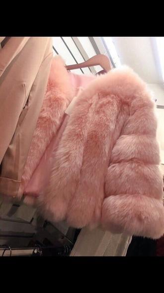 coat pink rose gold fur glamour