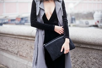 jazzabelles diary blogger grey coat sleeveless trench coat black jumpsuit pouch