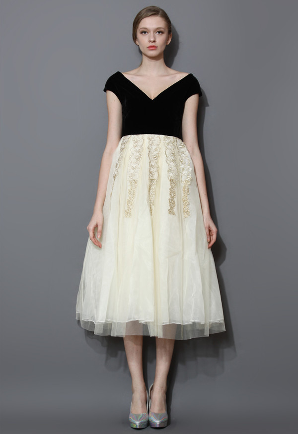 dress, velvet, tulle skirt, midi, gown - Wheretoget