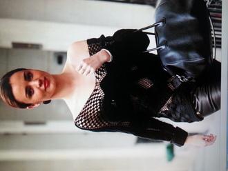 blouse black crochet knitwear miranda kerr