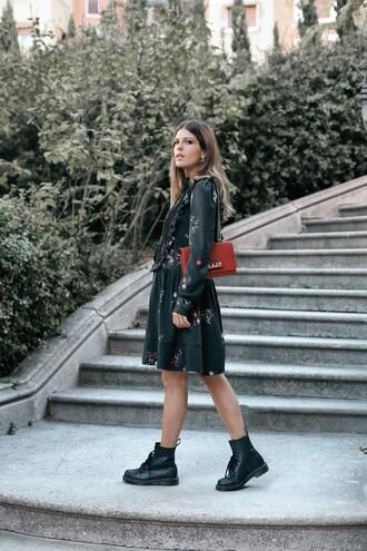 dress tumblr floral floral dress boots black boots biker boots bag red bag long sleeves long sleeve dress midi dress