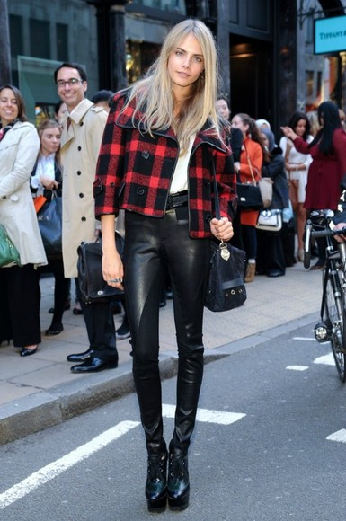 cara delevingne pants jacket leather wool jacket flannel leather leggings high heels black high heels lace up heels shoes