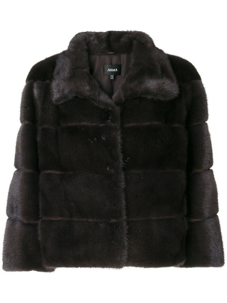 Arma jacket short fur women grey