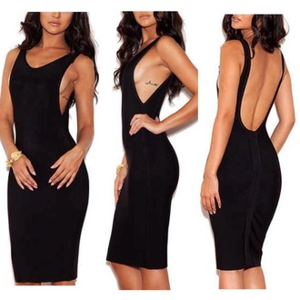 dress side boob backless dress backless black dress black