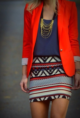 jacket blazer red blazer bright color bright blazer navy blouse navy blouse good chain necklace necklace mini skirt aztec aztec print skirt skirt body con skirt jeans jewels
