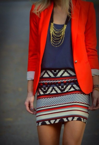 skirt aztec print skirt jewels jacket blazer aztec print red blazer bright color bright blazer navy blouse navy blouse good chain necklace necklace mini skirt body con skirt jeans