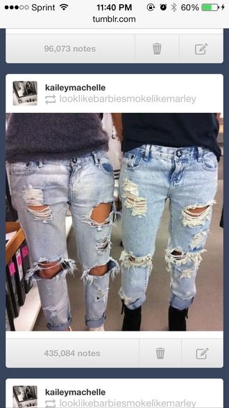 jeans ripped grunge boyfriend skinny