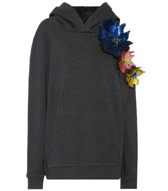 hoodie embellished cotton grey sweater