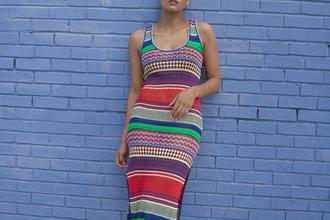 dress stripes knitted dress