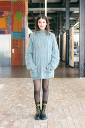 sweater,mila de wit,off duty model,combat boots,model,sweater dress,pants,shoes
