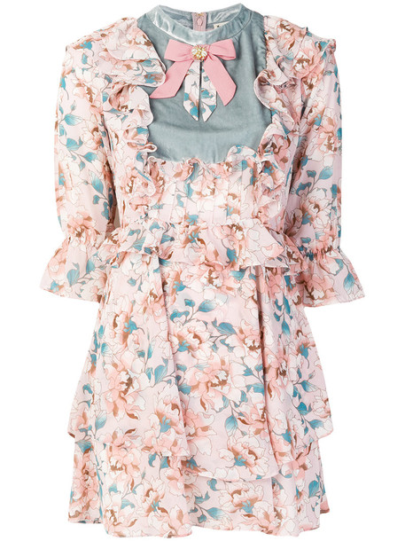For Love and Lemons dress print dress women floral print silk purple pink