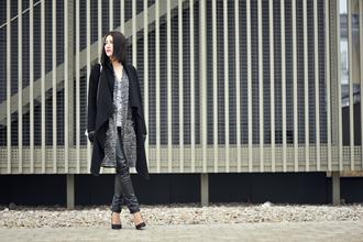 shiny sil blogger black coat leather pants blouse bag pants jewels gloves