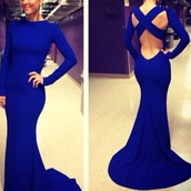 evening dress,long sleeve dress,mermaid prom dress,dress,royal blue dress,prom dress
