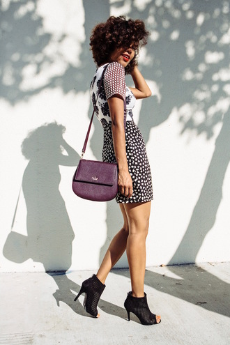 style me grasie blogger bag dress shoes kate spade purse topshop black booties curly hair