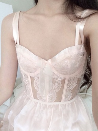 underwear corset lace light pink lingerie lace top corset top corset dress pink satin silk bow pastel babydoll lingerie bra babydoll pale aesthetic tumblr nightie lingerie dress white peach sheer shirt pink dress little girl under garment pretty lingerie set