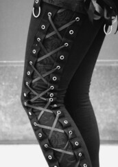 pants,black pants,leggings,lace up,black,lace,goth,jeans