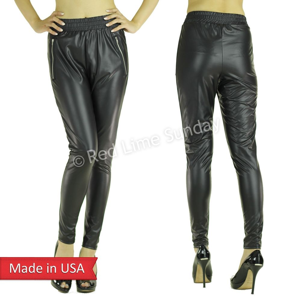 Matte Black Faux Leather Jogger Jogging Pants Leggings Bottom Trouser Zipper USA