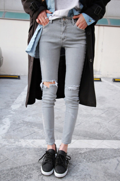 jeans skinny jeans grey jeans graphic tank top