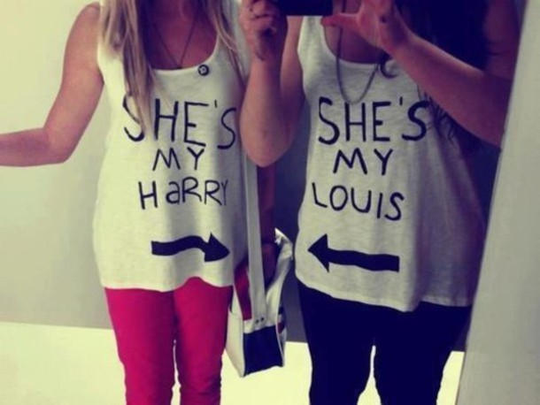 t shirt bff shirt she 39 s my harry she 39 s my louis white. Black Bedroom Furniture Sets. Home Design Ideas
