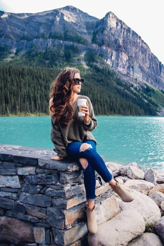 thesweetestthing blogger sweater shoes sunglasses jewels ripped jeans green sweater ankle boots black sunglasses blue jeans oversized sweater oversized nude boots fall outfits grey oversized sweater