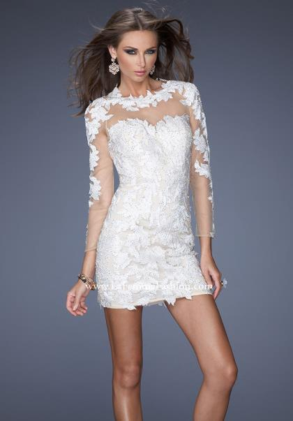La femme fitted ivory dress 20105