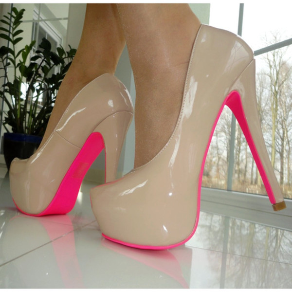 Womens Size UK 5 Patent PVC Beige Neon Pink Sole Pumps High Heel ...