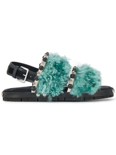 MARNI fur women sandals blue shoes
