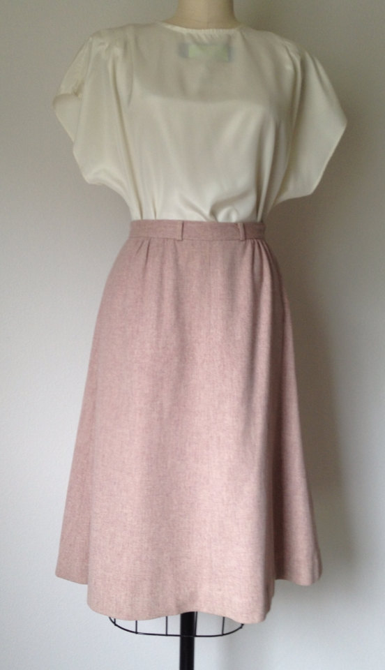 blush pink skirt vintage 70s s wool skirt a