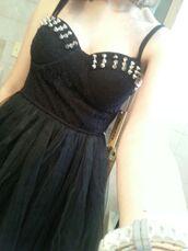 dress,black,studded dress,studded dresses,short dress