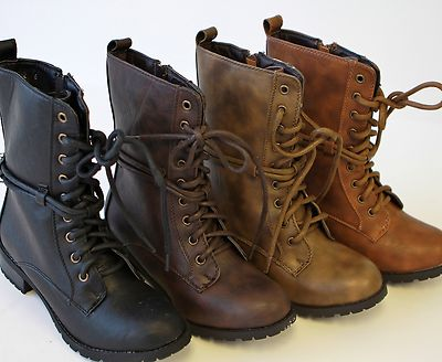 2 Women Low Heel Knight Military Ankle Combat Boots British Style ...