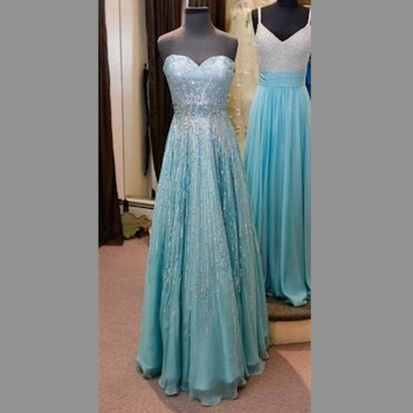 dress prom blue strapless sweetheart neckline clothes aqua silver turquoise beaded beads floor lenght floor length promdress clothing