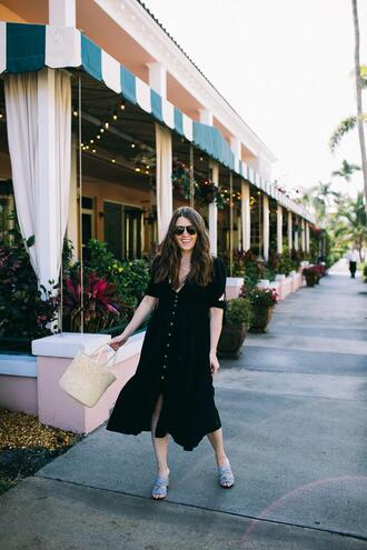 sequins and stripes blogger dress shoes bag sunglasses basket bag spring outfits black dress sandals