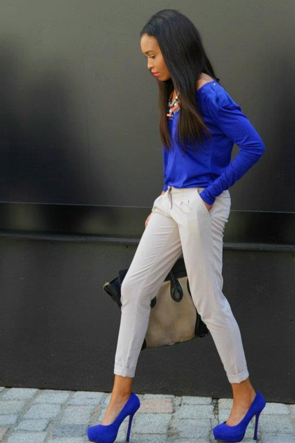 pants white jeans blue purple blouse shirt heels high heels bag beige shoes