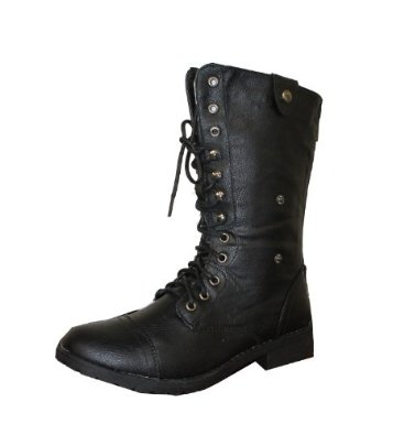 01 women's mid calf combat boot with micro fiber lining: shoes