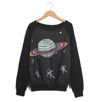 jacket sweater black space science galaxy print