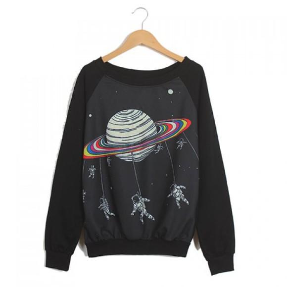planet space jacket galaxy print black sweater sweatshirt