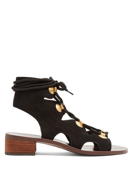 See by Chloe heel sandals lace suede black shoes